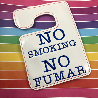 No Smoking No Fumar (English and Spanish) hanging sign for 5x7 hoops