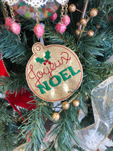 Joyeux Noel Christmas Ornament for 4x4 hoops