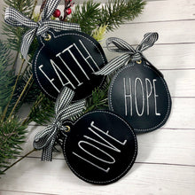 Set of FOUR Farmhouse FAITH, HOPE, CHARITY, and LOVE Christmas Ornaments for 4x4 hoops