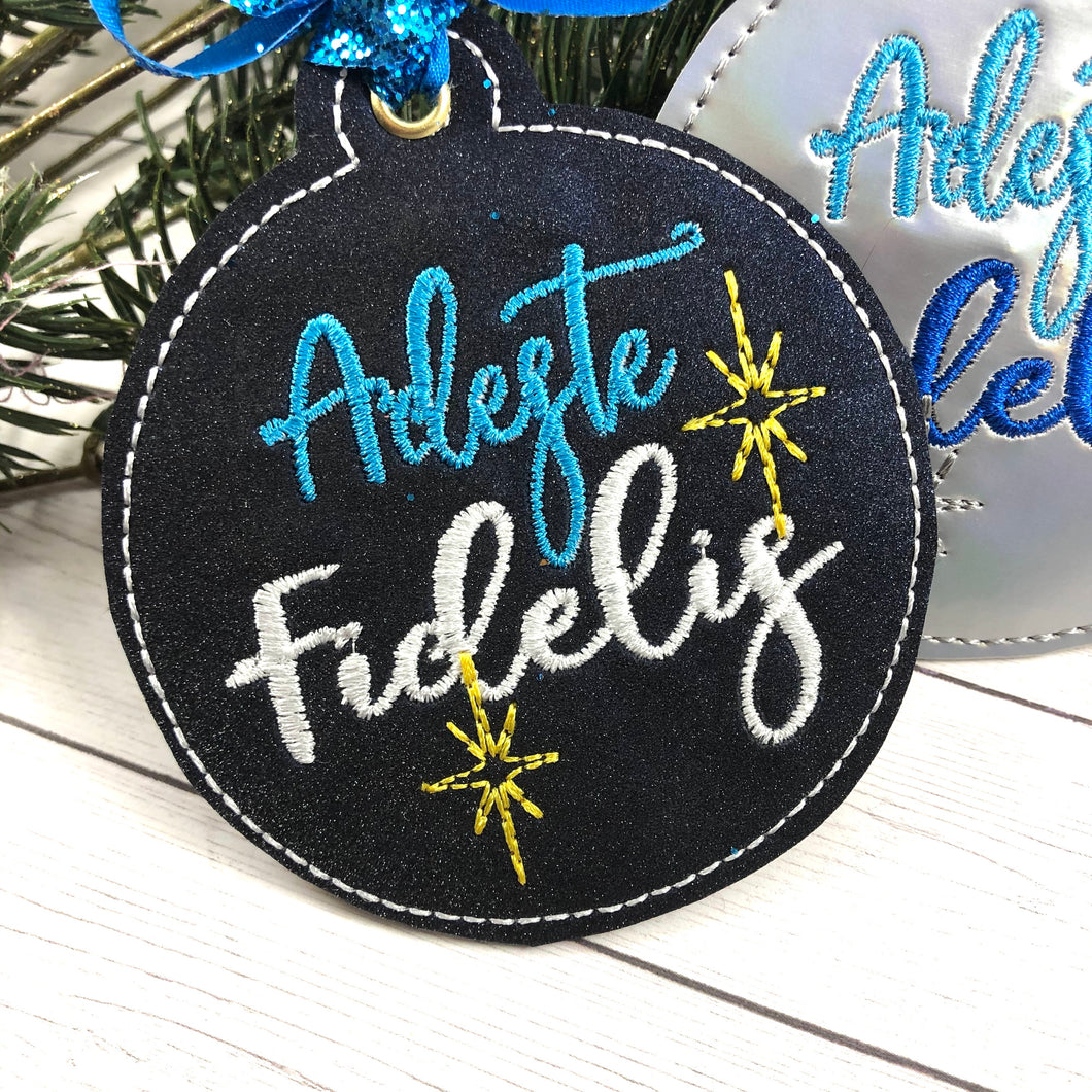 Adeste Fidelis Christmas Ornament for 4x4 hoops