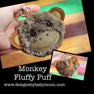 Monkey Fluffy Puff - In the Hoop Embroidery Design