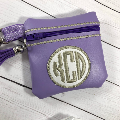 Monogram Circle Zipper Pouch 4x4