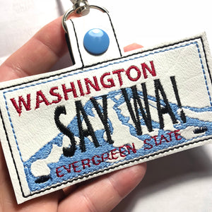 Washington Plate Embroidery Snap Tab