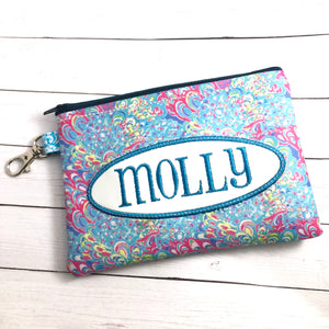 Monogram Oval Applique Frame Set of THREE Zip Zipper Bags 5x7, 4x9