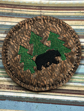 Bear and Trees Coaster In The Hoop Embroidery Project