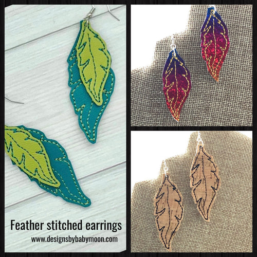 Feather Earrings embroidery design for Vinyl and Leather