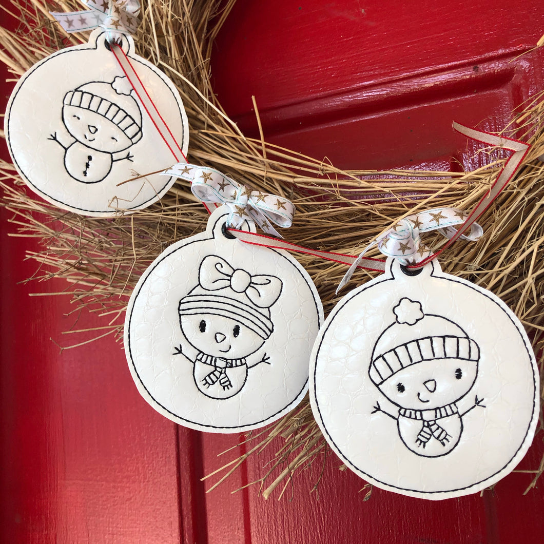 Set of THREE Redwork Snowman Christmas Ornaments for 4x4 hoops