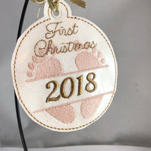 Babys First Christmas Ornament for 4x4 hoops