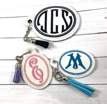 Monogram BLANK Oval Eyelet tag  TWO SIZES for 4x4 hoops