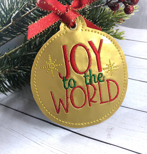 Joy to the World Christmas Ornament for 4x4 hoops