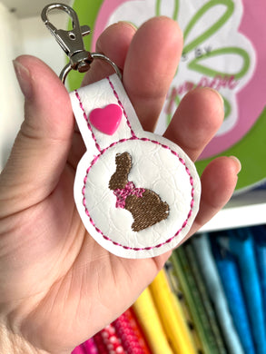 Chocolate Bunny Tab In the Hoop Design Single for 4x4 hoops