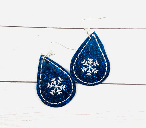 Snowflake Teardrop Earrings embroidery design for Vinyl and Leather
