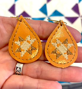 Quilt Block Teardrop Earrings embroidery design