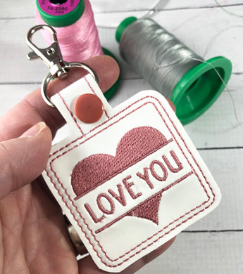 Split Heart snap tab Personalized Bag Tag for 4x4 hoops