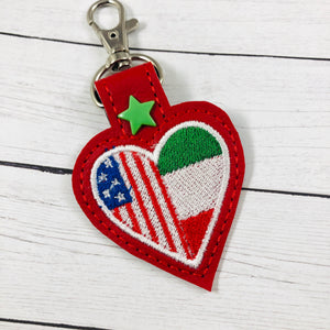 Italy America LOVE snap tab In The Hoop embroidery design