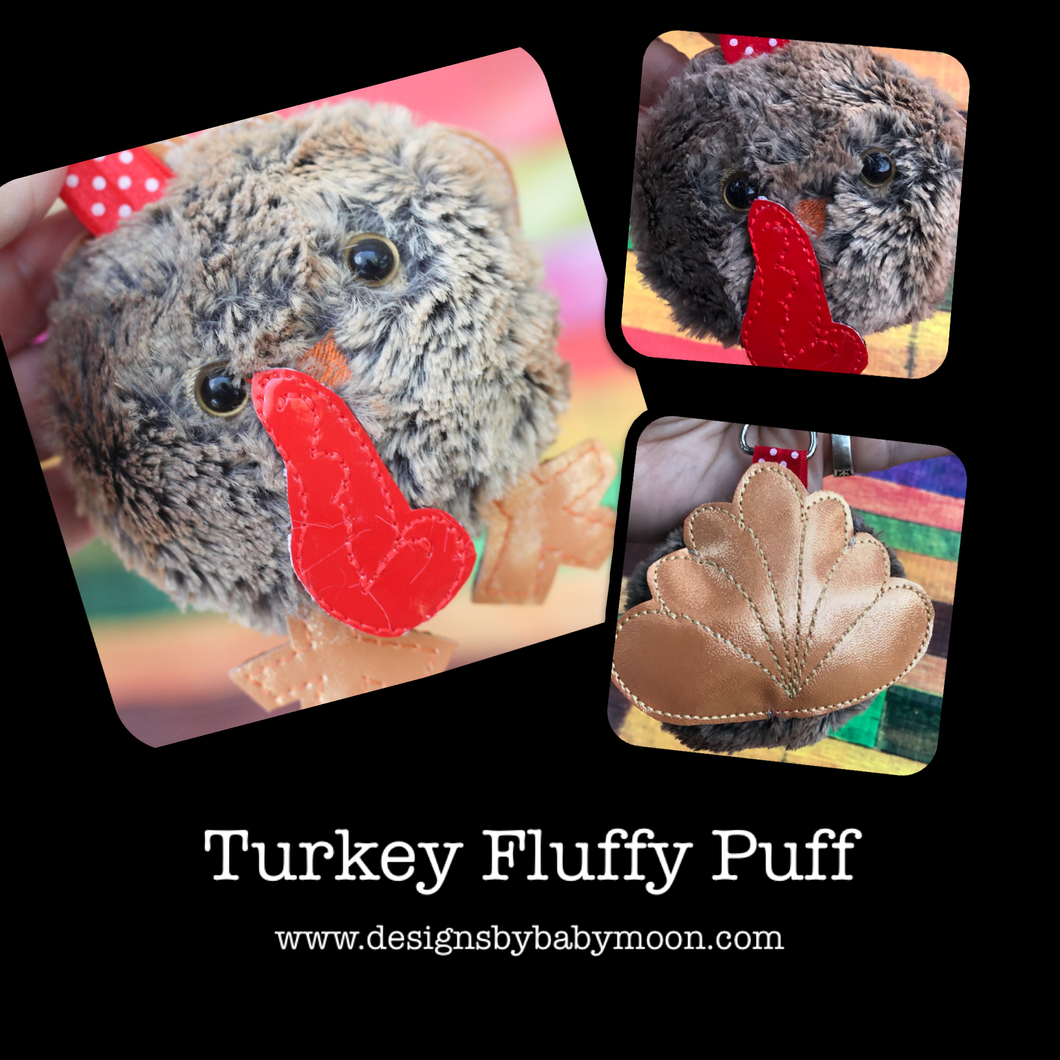 Turkey Fluffy Puff - In the Hoop Embroidery Design