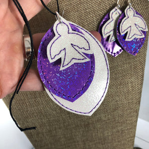 Bird and Leaf Earrings and Pendant embroidery design for Vinyl and Leather