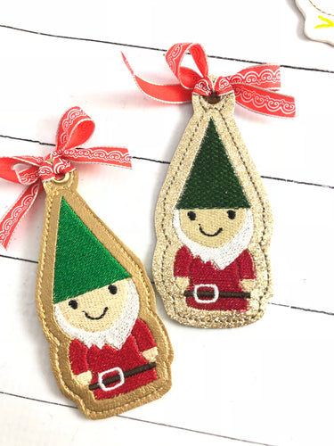 Happy Gnome Christmas Ornament for 4x4 hoops