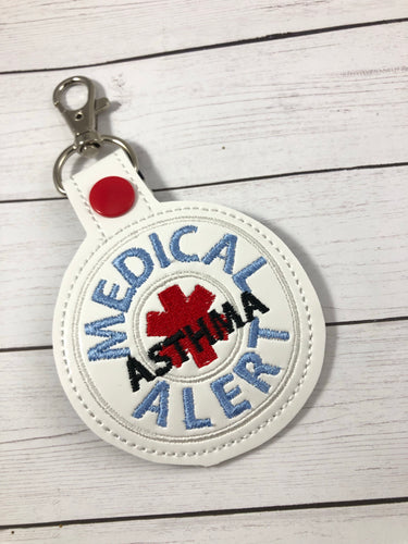 Medical Alert Asthma snap tab embroidery design