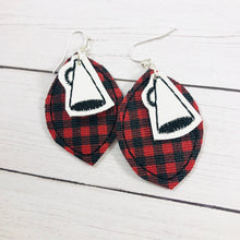 Megaphone and Leaf Layers Earrings and Pendant embroidery design