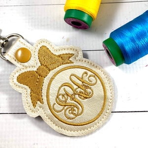 Monogram BLANK Bow tag snap tab for 4x4 hoops