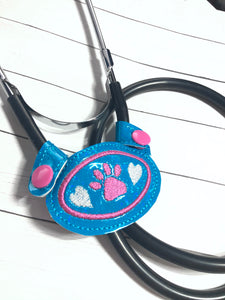 Stethoscope Yoke In the Hoop Snap Tab Project - Paw Print LOVE