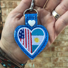 Argentina America LOVE snap tab In The Hoop embroidery design