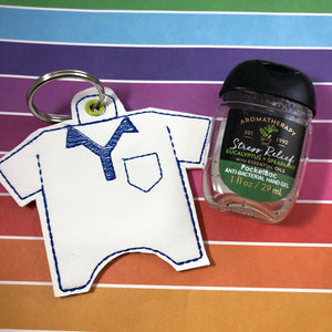 Golf Shirt Hand Sanitizer Holder Eyelet Version In the Hoop Embroidery Project 1 oz BBW for 4x4 hoops