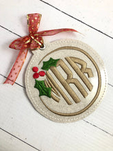 Holly Monogram Frame Christmas Ornament for 4x4 hoops