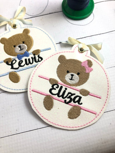 Bear Boy and Bear Girl Christmas Ornaments for 4x4 hoops