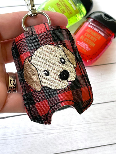 Puppy face Sanitizer Holder Snap Tab Version In the Hoop Embroidery Project 1 oz BBW for 5x7 hoops