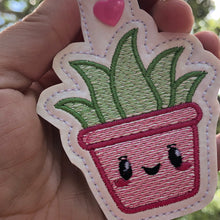 Succulent Aloe Vera Plant Snap Tab In the Hoop Embroidery design