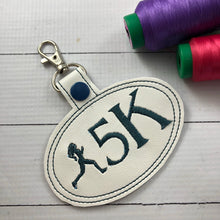 5K Running Girl snap tab - Backpack/Keyfob tag embroidery design