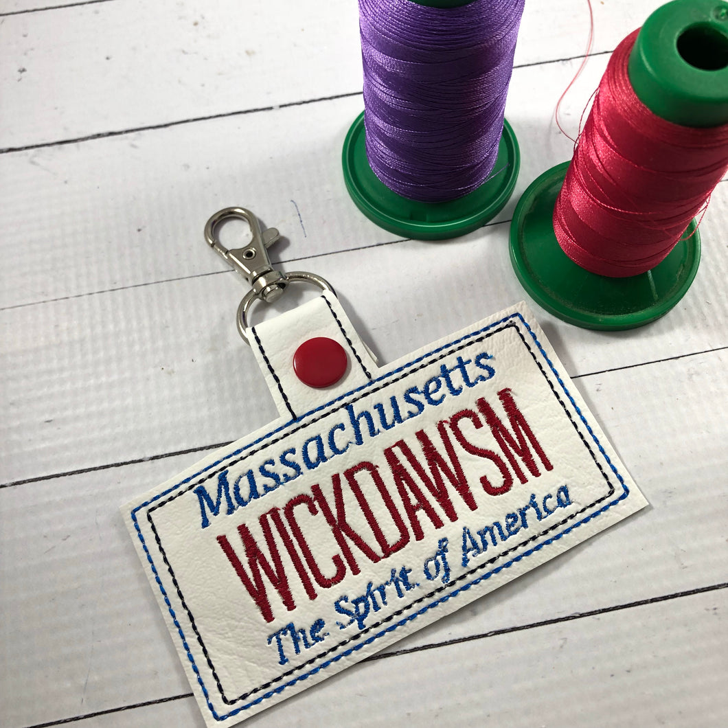 Massachusetts Plate Embroidery Snap Tab
