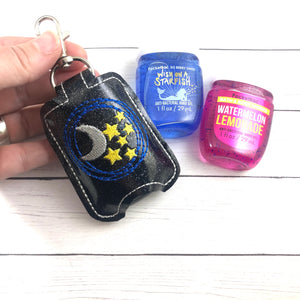 Moon and Stars Hand Sanitizer Holder Snap Tab In the Hoop Embroidery Project