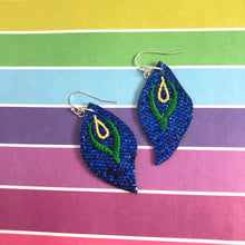Abstract Peacock Earrings embroidery design for Vinyl and Leather