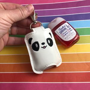 Panda Face Hand Sanitizer Holder Snap Tab Version In the Hoop Embroidery Project 1 oz BBW for 5x7 hoops