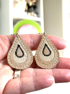 Drama Drops Earrings embroidery design for Vinyl and Leather - TWO sizes