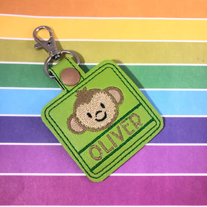 Monkey snap tab Personalized Tag for 4x4 hoops