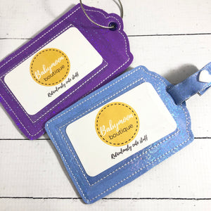 Fancy Luggage Tag - Two Styles - Eyelet and Strap for 5x7 hoops