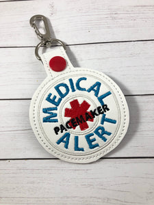 Medical Alert PACEMAKER snap tab embroidery design
