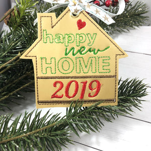 Happy New Home Personalized Christmas Ornament for 4x4 hoops
