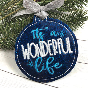 It's a Wonderful Life Christmas Ornament for 4x4 hoops