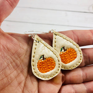 Pumpkin Teardrop Earrings embroidery design