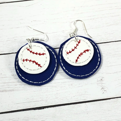 Baseball Softball Stitching ROUND Layers Earrings and Pendant embroidery design for Vinyl and Leather