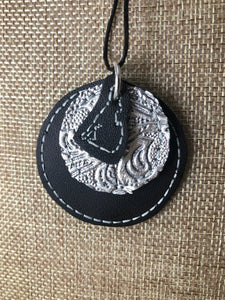Howling Wolf and Full Moon Earrings and Pendant embroidery design for Vinyl and Leather