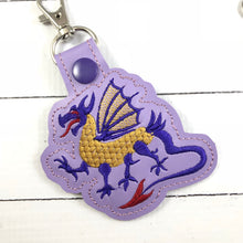 Dragon snap tab In the Hoop embroidery design