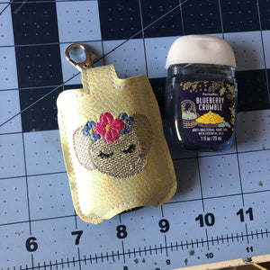 Sweet Elephant Face Hand Sanitizer Holder Snap Tab Version In the Hoop Embroidery Project 1 oz BBW for 5x7 hoops