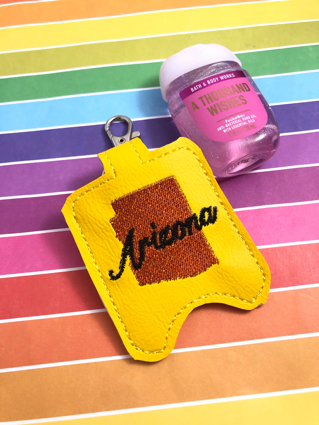 Arizona Hand Sanitizer Holder Snap Tab Version In the Hoop Embroidery Project 1 oz BBW for 5x7 hoops