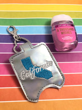 California Hand Sanitizer Holder Snap Tab Version In the Hoop Embroidery Project 1 oz BBW for 5x7 hoops